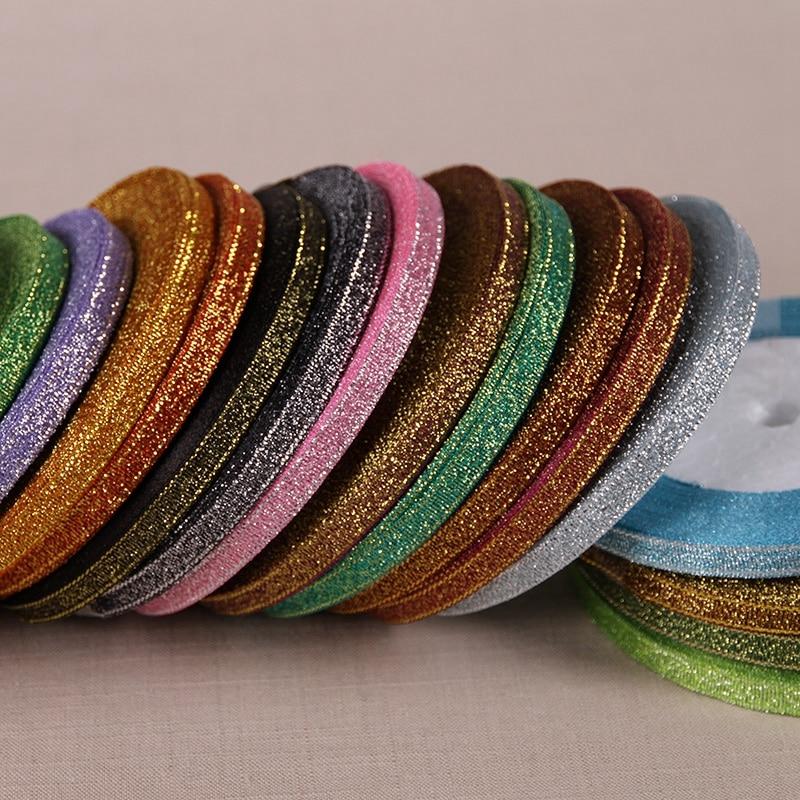 "1/4"" (6mm) 25yards Metallic Glitter ribbon satin ribbon for belt gift packing wedding decoration /DIY crafts"