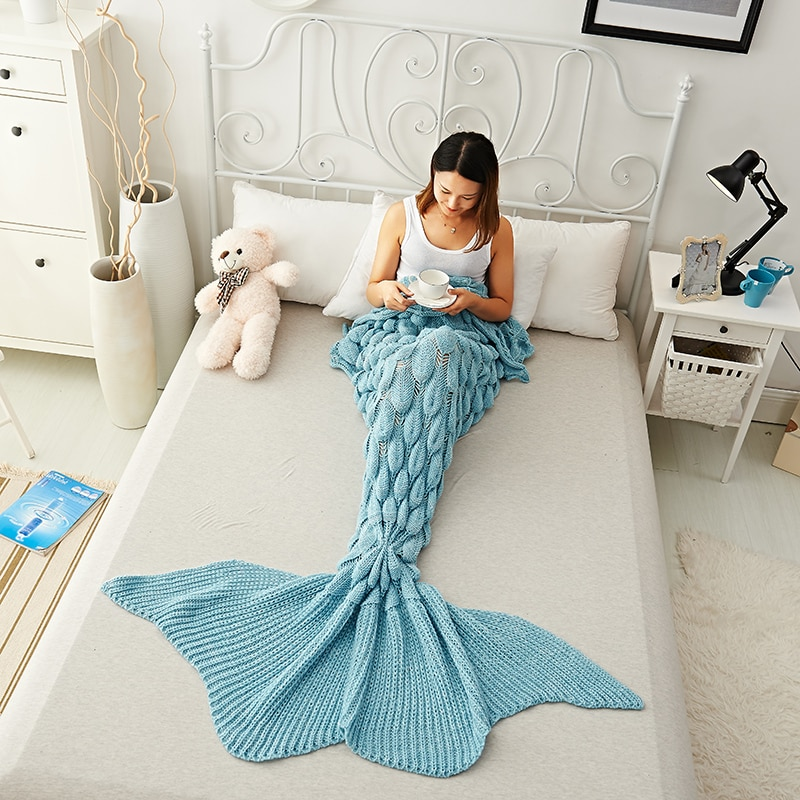 Manta gruesa de sirena hecha a mano de punto para dormir manta de cola de pez manta para sofá cama bolsa de ganchillo ropa de cama