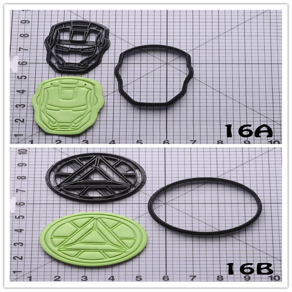 Superhéroe Iron Man Series hecho a medida 3D forma impresa cortador de galletas conjunto de accesorios para Cocina
