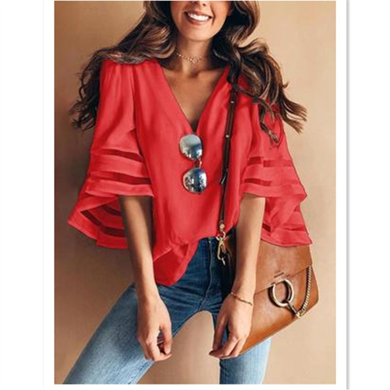 Sweet fresh Europe America new design solid Easy casual chiffon blouses shirts Net yarn chiffon spliced hot sale Special Offer