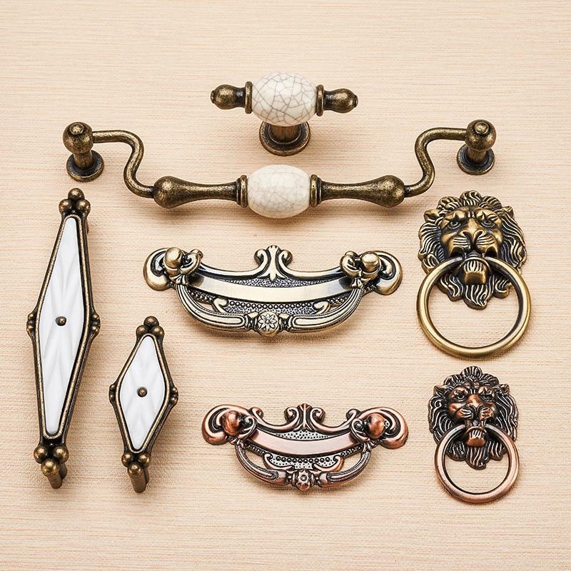 Zinc Alloy Wardrobe Door Bedside Table Handle, Ceramic Single Hole Drawer Pull, Retro Cabinet Shoe Locker Wine Cabinet Knob