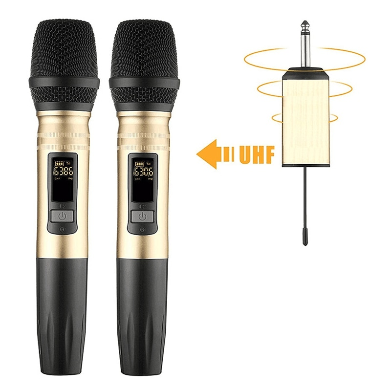 Ux2 Uhf Беспроводная микрофонная система ручной светодиодный микрофон Uhf динамик с портативным usb-приемником для Ktv Dj речевой усилитель