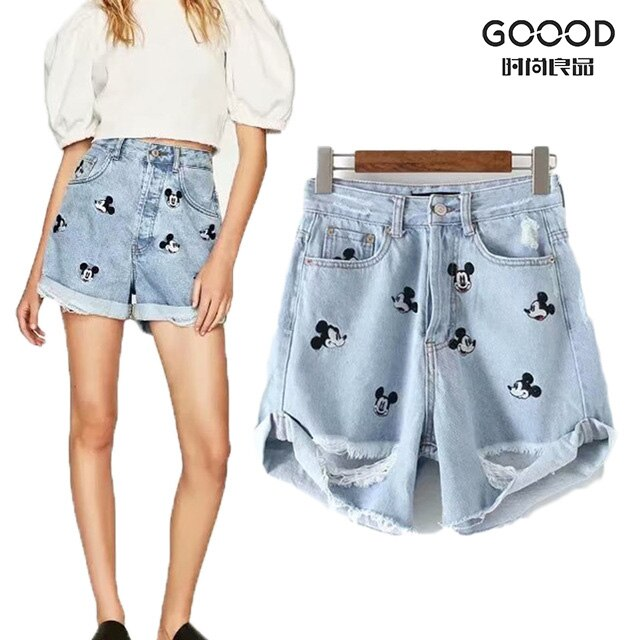 Pantalones cortos de mujer 2019 nueva moda verano cintura alta Ripped Hole bordado corto Mini Jeans para mujeres pantalones Sexy