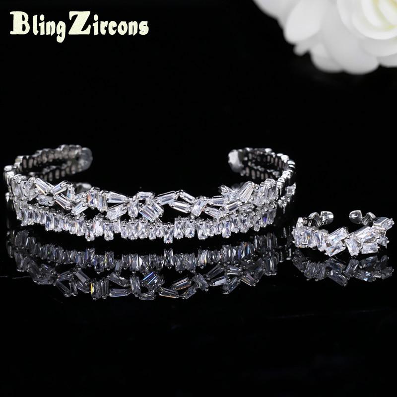 BeaQueen, Baguette de moda, Zirconia cúbica, ajuste ajustable para mujeres, pulsera, brazalete, anillo, conjuntos de joyería, regalo de aniversario JS148
