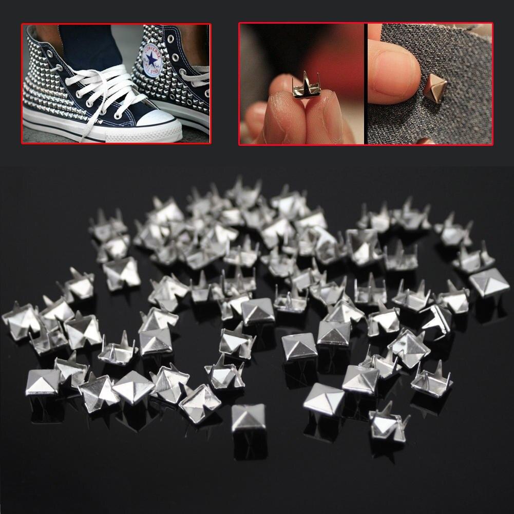 Серебристые шпильки в виде пирамиды, 200 шт./лот, 7 мм, гвоздики с заклепками, шпильки для одежды в стиле панк-рок, кожевенное ремесло, Сумка с ремнем, украшения обуви