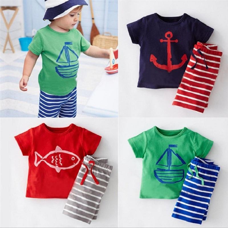 Повседневные комплекты одежды для маленьких мальчиков летняя детская футболка с моряком комплекты с короткими штанами в полоску 100% хлопок,...
