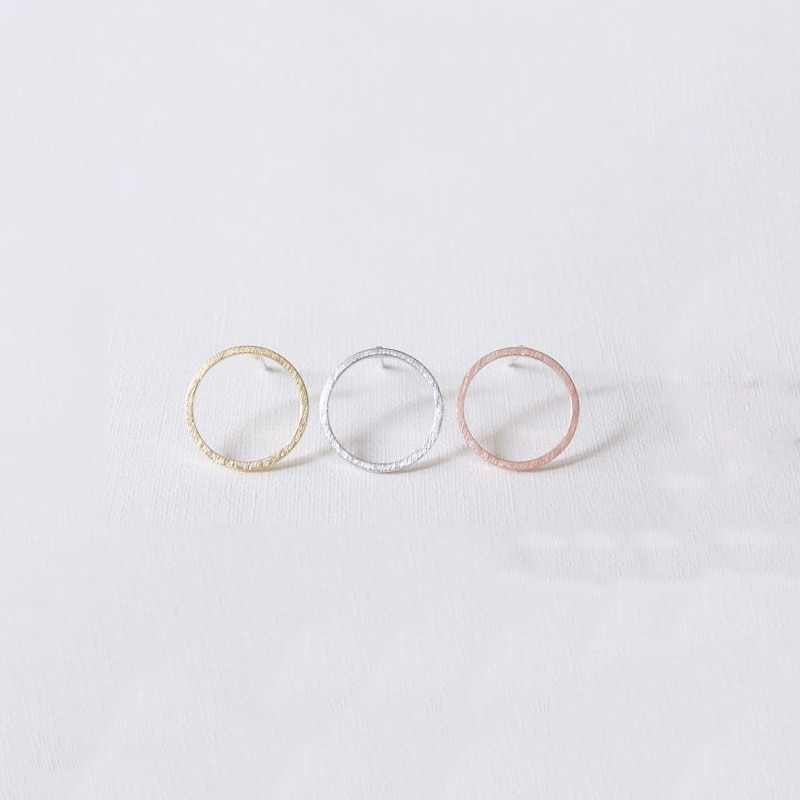 Sasusp Minimalism Hollow Small Round Earrings for Women Vintage Circle Earings Ear Studs For Friend Daughter Sister Gift  - buy with discount