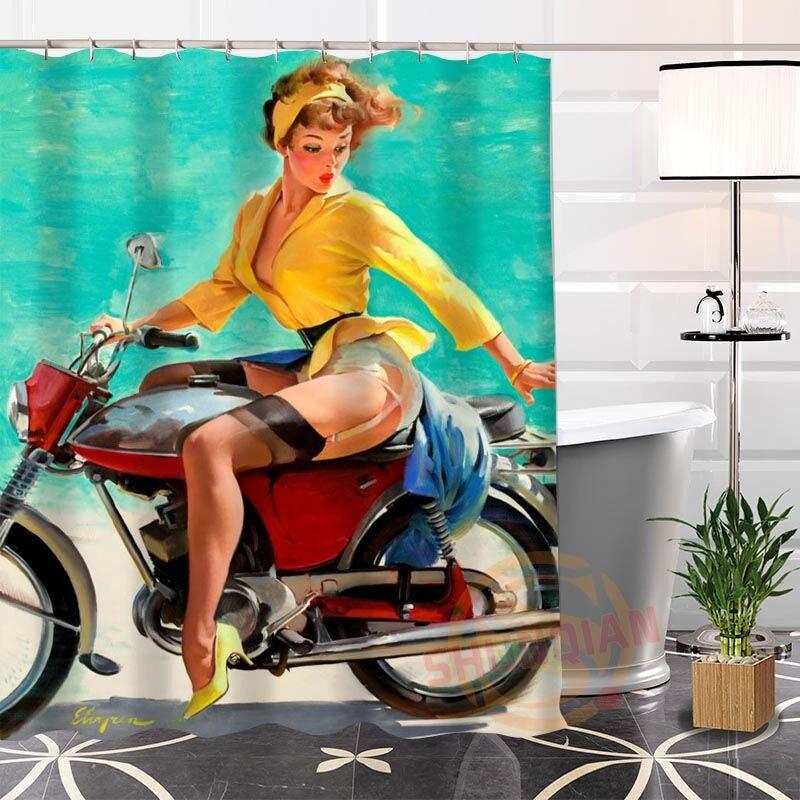 Respetuoso con el medio ambiente personalizado único pin up girl cortina de Ducha moderna baño impermeable para usted mismo H0220-54