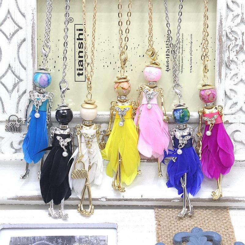 Новое поступление! Модное Кукольное ожерелье, украшения, фигурки из сплава металла, подвеска, перо, платье, Женское Ожерелье и подвеска, розн...
