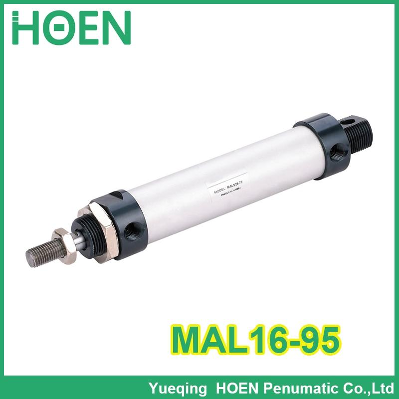 MAL16-95 Alta qualidade cilindros de duplo efeito pneumático pequeno liga de alumínio 16mm diâmetro 95mm curso mini cilindro de ar