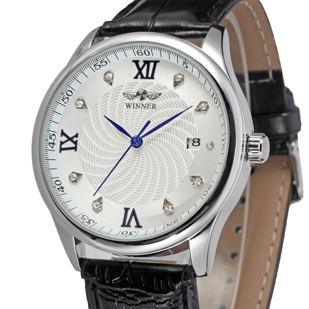 Fashion Winner Top Brand Business Men Automatic Wrist Watches Leather Dress Male Mechanical Calendar