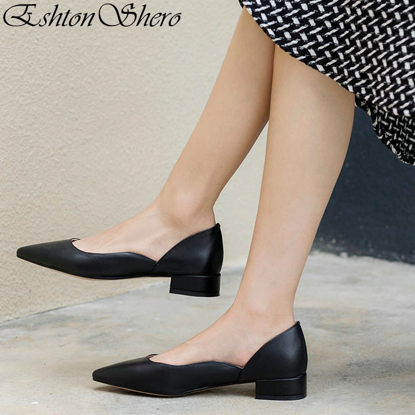 EshtonShero verano Partido de mujeres zapatos de mujer zapatos bombas de tacón bajo punta básico clásico señoras zapatos de boda zapatos tamaño 3 -9