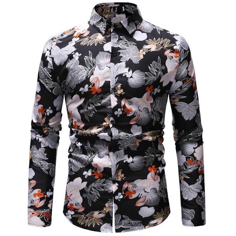 Mens summer beach Hawaiian shirt 2019 brand long-sleeved plus size and color shirt mens casual resort dress Camisas 23 color