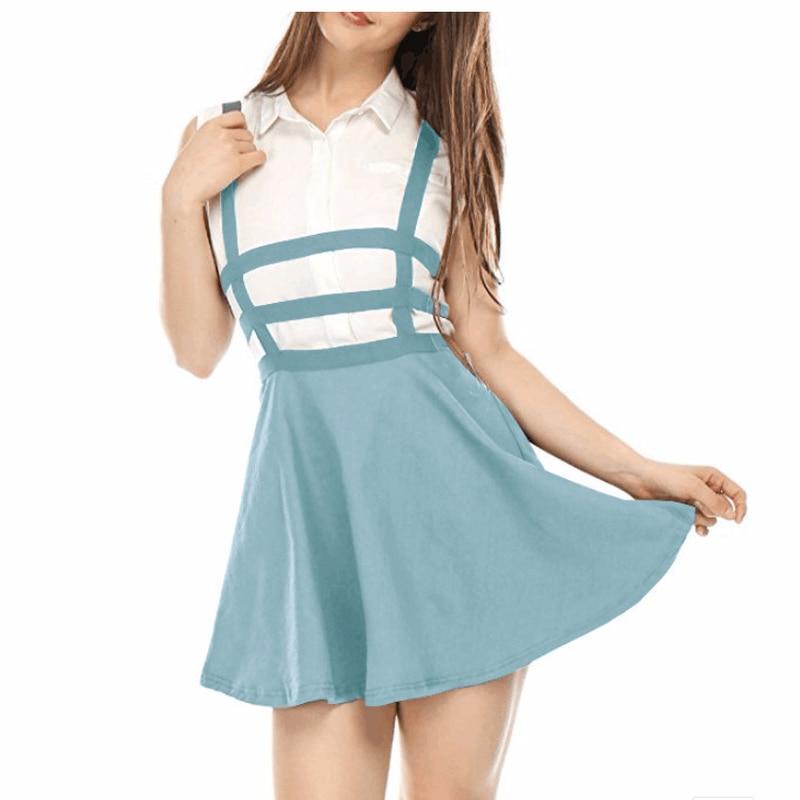 Spring and Summer 2018 New Korean Hollow-out Bandage, High Belt and Belt Skirt, Peng Skirt, A-shaped Umbrella Skirt and