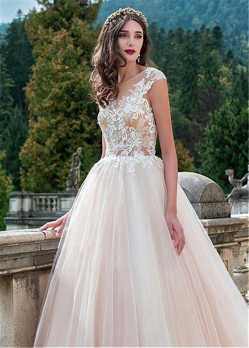 Купить с кэшбэком smileven  Lace Wedding Dress 2019 Appliques Robe De Mariage Bride Gowns vestido de noiva Open Back A Line Wedding Dresses
