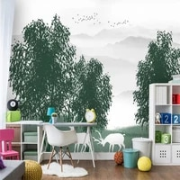 custom wallpaper nordic minimalist art forest elk flying bird background wall high decorative painting waterproof material