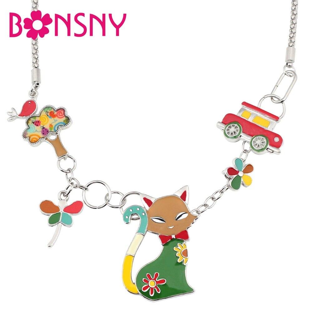 Bonsny, эмалированный сплав, Элегантный Кот, стрекоза, птица, дерево, автомобиль, ожерелье, кулон, модные Мультяшные ювелирные изделия для женщин, девушек, девушек, подростков, подарок