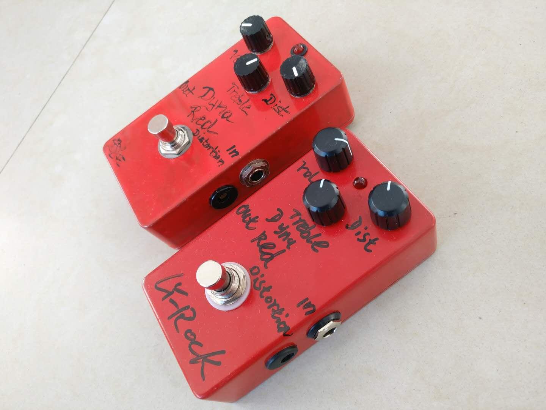 Re edición BJFE rojo distorsión Dyna Pedal guitarra eléctrica Stomp efecto caja amplificador bajo paquete MOD DIY profesor loco
