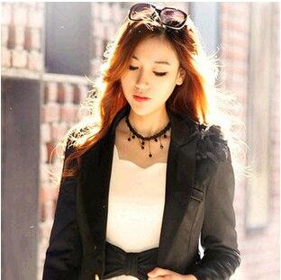 Schwarz goth quaste anhänger halskette/kpop elegante hochzeit zubehör großhandel/gros collier femme/neckless/colar/collana/bijoux