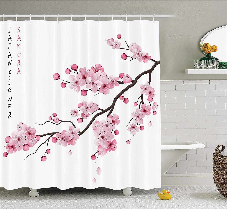 Decoración asiática, cortina de ducha, ilustración de ramas de cereza japonesas con flores florecientes, decoración de primavera, arte bohemio para Baño