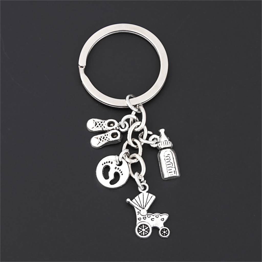 1Pc Lovely Baby Cart Milk bottle Keychain Cute Shoes Mother Cradling Theme Keychain Mother's Day Souvenir Jewelry E2690