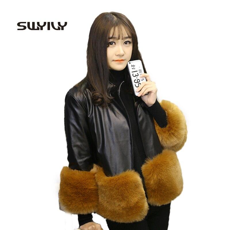 قصيرة الفراء الدافئة بولي Leather سترة جلدية موضة 2017 الشتاء أبلى معطف المرأة ثلاثة أرباع الحلو ثلاثة أرباع كم معطف