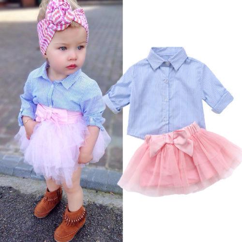 Pretty Kids camisa de tela vaquera a cuadros de niña y falda de tul traje de Otoño de niño niña