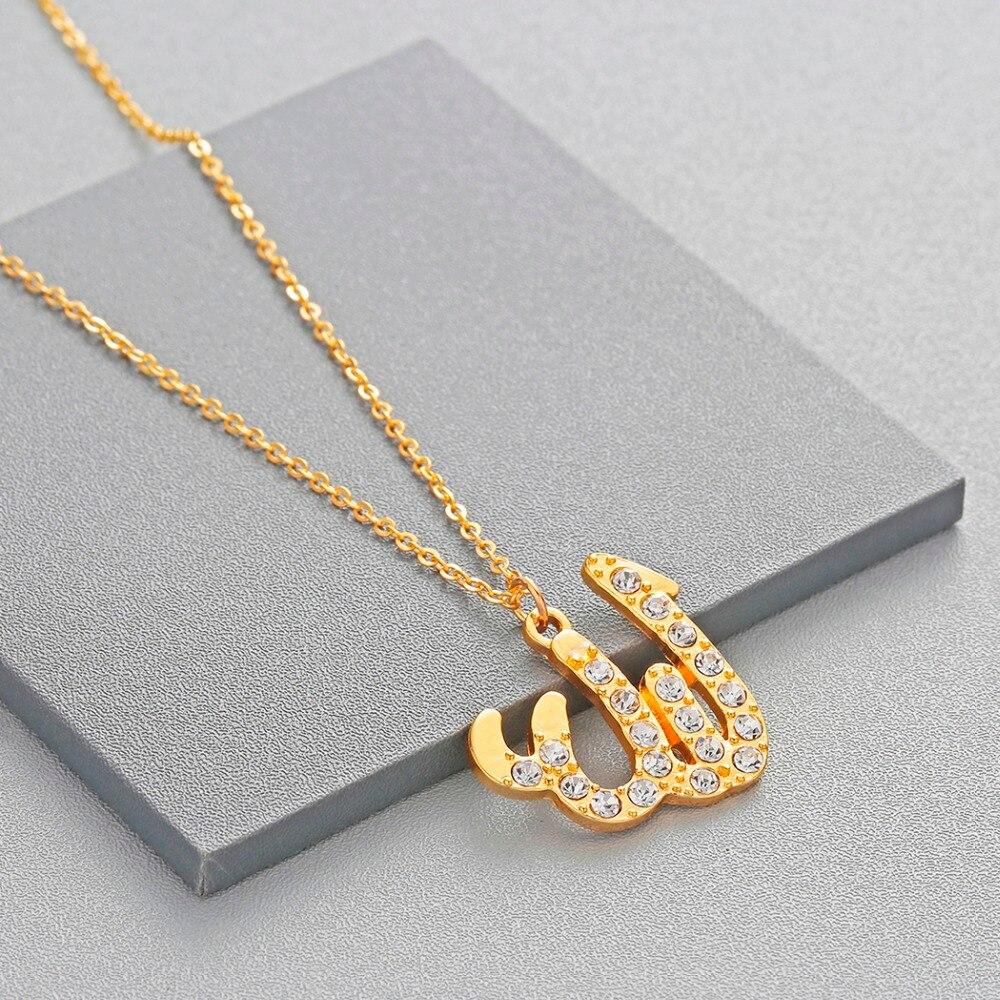 Collar islámico de Alá dorado y árabe de Chandler, amuleto musulmán Colgante para Nombre Dios Kuran, joyería de fe religiosa, gargantilla de circonia cúbica