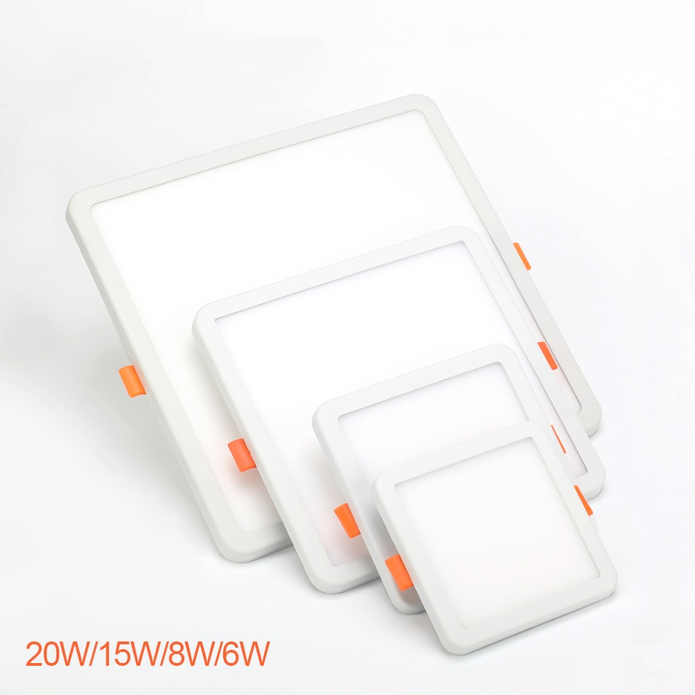 Ultra delgado Panel LED Downlight cuadrado 6W 8W 15W 20W cierre móvil de aluminio luz empotrable de techo blanco 6000-6500K AC85-265V