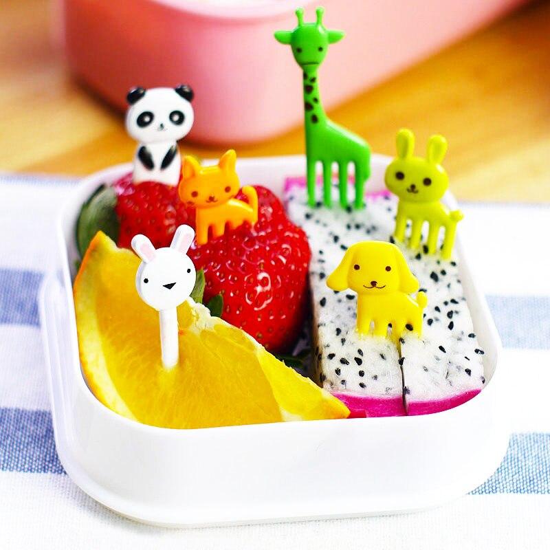 ¡Oferta! 10 unids/set Original fácil de limpiar Tenedor de fruta para niños Mini palillos para fruta de granja de animales de dibujos animados