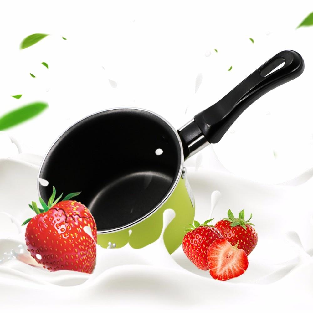 Leite pan pan aquecimento panela anti-aderente de doce cor portátil mini prático kitchen cooking pot verde/rosa aleatória