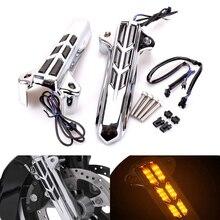 Для Harley Road King Glide EFI Street, скользящий, Electra Glide, ультра классический, 2014-2018, серебристый, Передняя Нижняя вилка, чехлы для ног, слайдер, LED