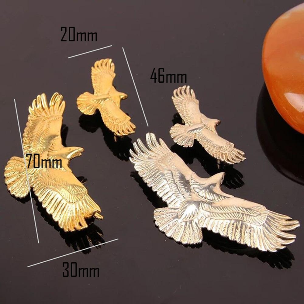 DIY high quality solid brass material golden silver color flying eagle design leather craft rivet screws button 2pcs/lot
