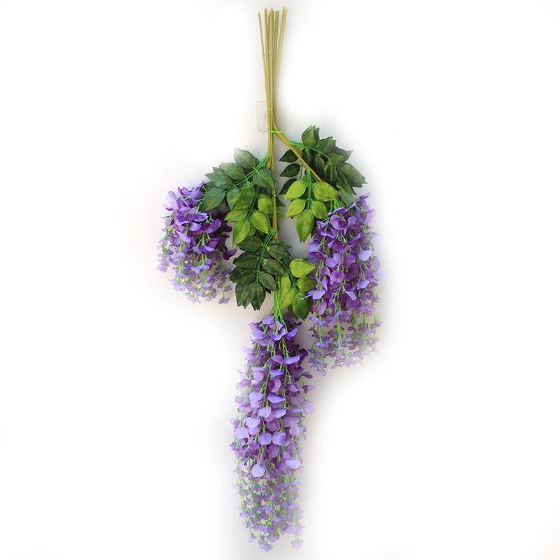 Artificial flower Wisteria long 110cm Tofu pudding fake tree rattan wedding ceiling decoration Purple blue