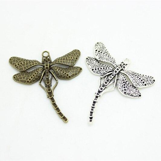 Venta al por mayor de campana dulce 8 unids/lote 50*55mm aleación de Metal de dos colores grandes encantos de libélula joyería Animal encanto 3C413