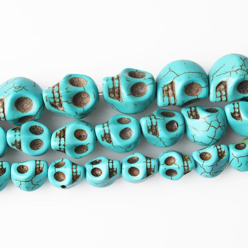 Gema de piedra natural, howlita calavera de hecha a mano, encantos de perlas sueltas para hombres, pulseras, joyería, collar largo, pendientes, decoración Diy