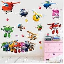 Autocollants muraux adhésifs en PVC   En 3D, Super ailes Jett avion, décoration murale pour la maison, pour enfants garçon chambre à coucher, cadeau danniversaire ou de pépinière