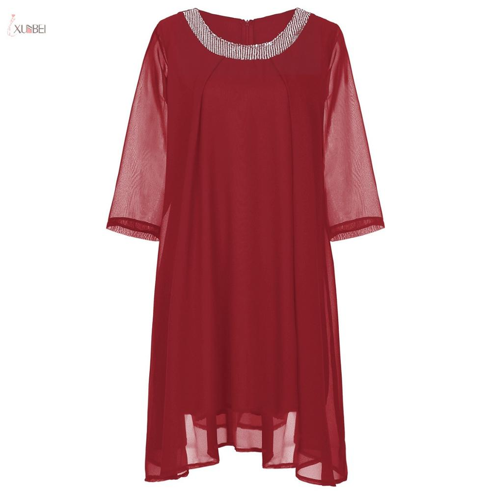 Burgundy Chiffon Mother Of The Bride Dresses Plus Size 2019 A line Scoop Neck Half Sleeve Wedding Pa