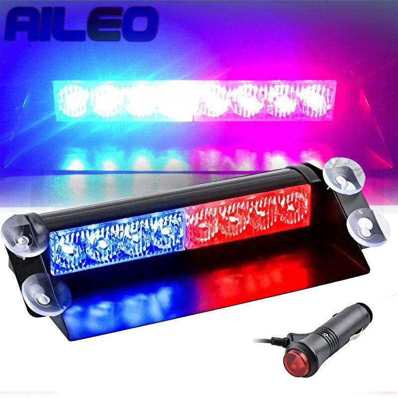 Aileo carro caminhão pisca de emergência traço estroboscópio luz de advertência dia running flash led luzes da polícia auto 8 leds 3 modos piscando 12v