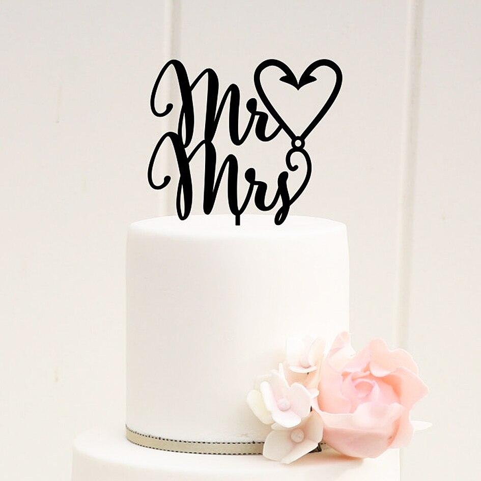 Mr & Mrs gancho de pesca corazón pastel de boda Topper boda para decoración FAVOR MATERIALES para boda letras silueta de la boda