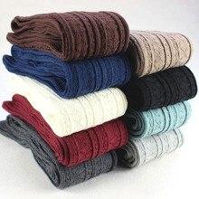 Bas épais en coton pour femmes, chaussettes montantes au dessus du genou, longues, couleur unie, de haute qualité, hiver