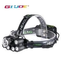 gijoe bluetooth led headlamp zoomable music headlight waterproof 218650 battery usb rechargeable 6 modes lamp outdoor 3000lm