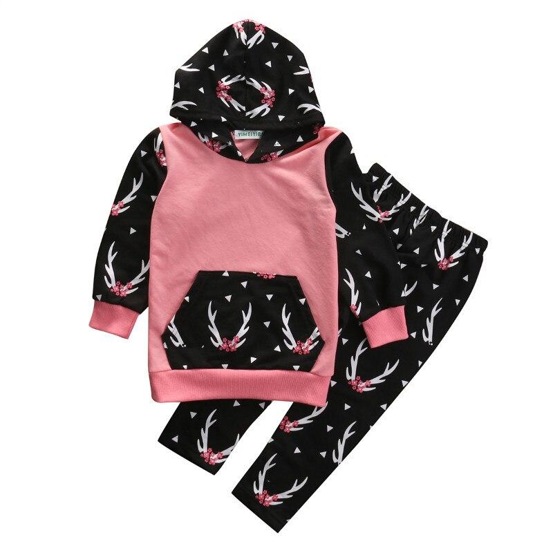 Long Sleeve Kid Girls Winter Clothes Kids Girls Floral Pant Sets Printed T-shirt Tops Pants 2PCS Girls Clothing Set 2T 3T 4T 5T
