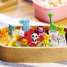 1 ensemble Animal ferme fruits fourchette Mini dessin animé enfants Snack gâteau Dessert Pick cure-dents Bento déjeuners fête décoration