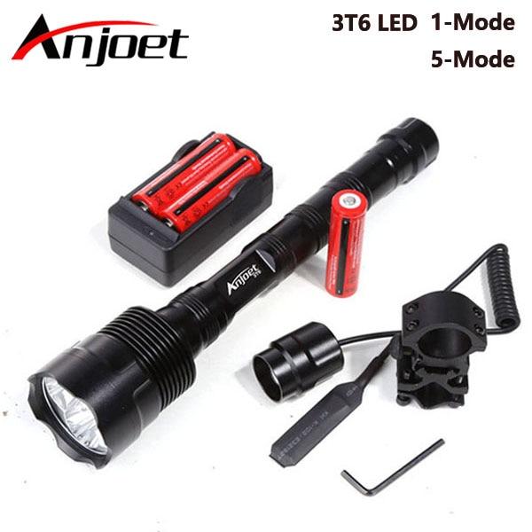 Linterna táctica Anjoet 6000Lm XML 3T6 LED a prueba de agua flash light 18650 batería recargable Tactical frame Tail switch