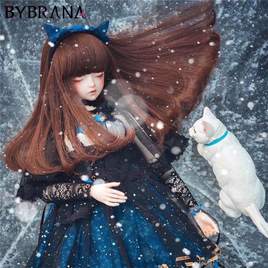 Bybrana Brown Inside Volume Bangs Pear Roll hair High Temperature Fiber 1/3 1/4 BJD Wigs for dolls