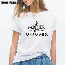 Mother of Mermaids Letter Print Women Tshirt Mermaid Hipster Tee Shirt Femme Short Sleeve Casual Shirt Women Tops Camiseta Mujer