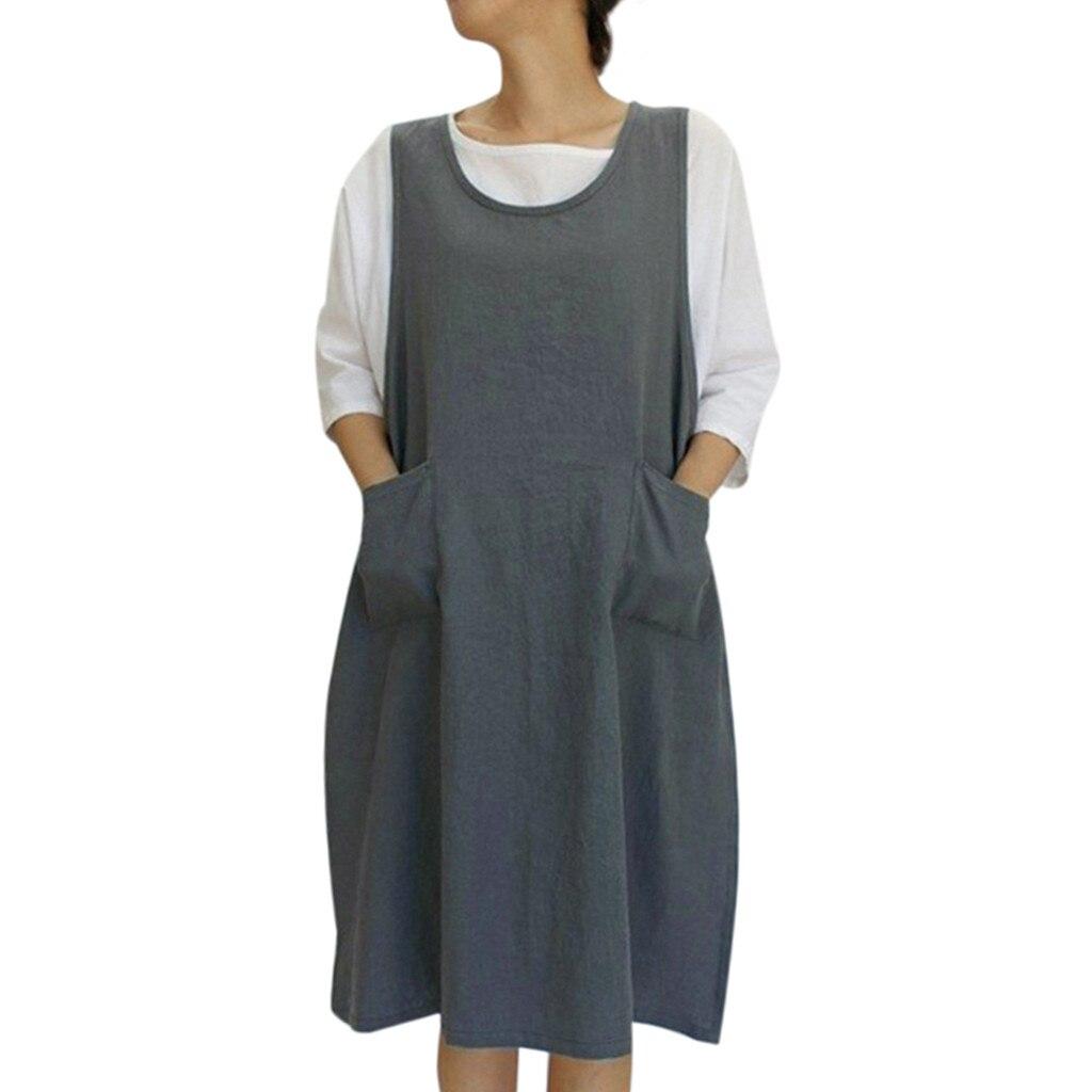 Schürze Küche Baumwolle Tunika Kleid Casual Ärmellose Knielangen Schürzen Kleid Mit Taschen Japanischen Stil Pinafore Schürze 19APR22