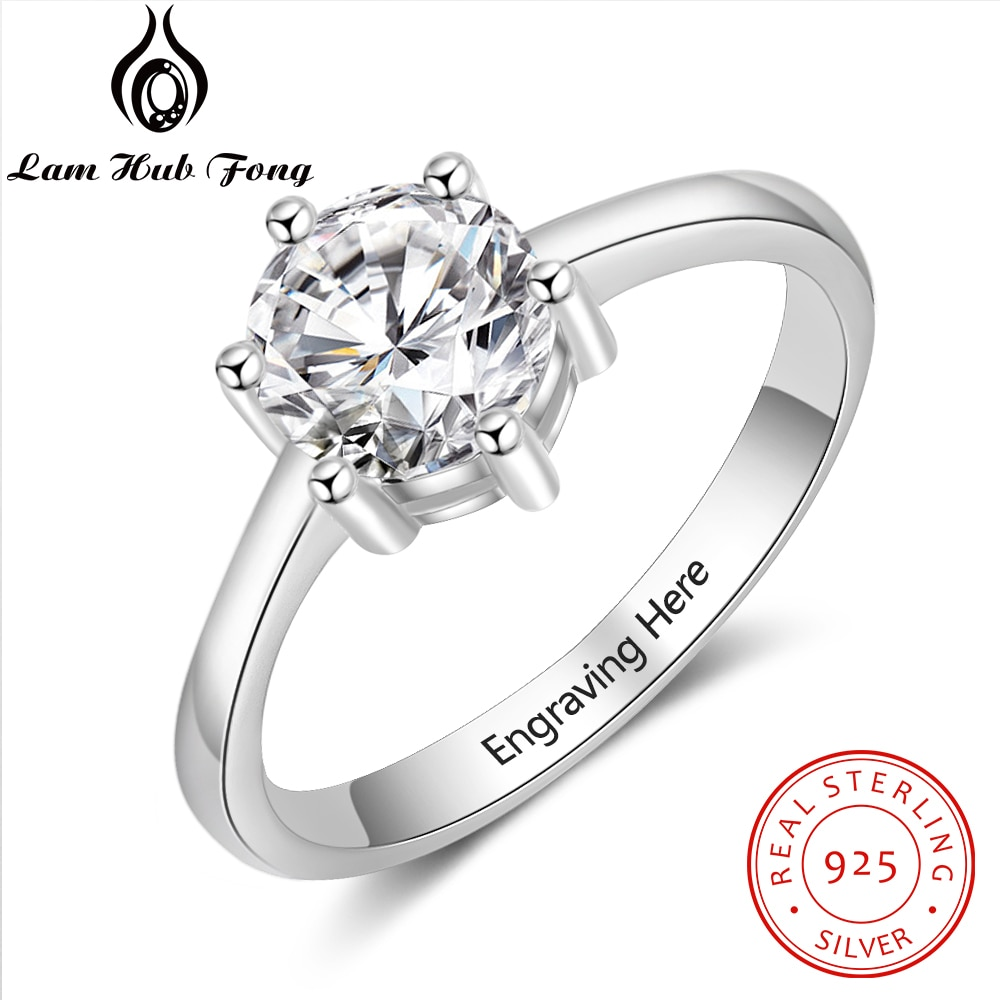Personalized Gift Cubic Zirconia Promise Wedding Engagement Ring 925 Sterling Silver Engrave Name Rings for Women (Lam Hub Fong) colorfish new unique design three stone wedding ring round cut sona 925 sterling silver for women engagement ring lovers promise