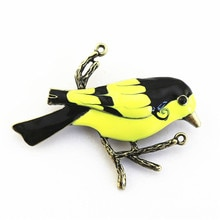 Nuevo estilo retro europeo y americano antiguo pájaro de bronce broche esmalte colibrí abrigo pin
